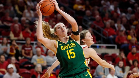 <p>               FILE - In this Sunday, March 8, 2020 file photo, Baylor forward Lauren Cox (15) catches a pass ahead of Iowa State guard Ashley Joens, rear, during an NCAA college basketball game in Ames, Iowa. Lauren Cox is still trying to process that her college basketball career is over. The Baylor forward, like many other seniors, saw her season end when the NCAA Tournament was canceled. She was on a plane with her teammates ready to head to the Big 12 Tournament last week when word came that the conference had canned its postseason.(AP Photo/Charlie Neibergall, File)             </p>