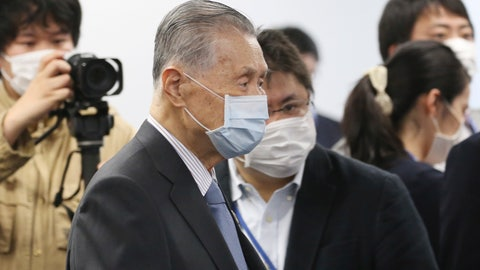 """<p>               Tokyo 2020 Organizing Committee President Yoshiro Mori arrives for the first meeting of  the """"Tokyo 2020 New Launch Task Force"""" in Tokyo, Thursday, March 26, 2020, two days after the unprecedented postponement was announced due to the spreading coronavirus. (AP Photo/Koji Sasahara)             </p>"""