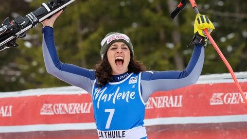 <p>               Italy's Federica Brignone celebrates taking second place in an alpine ski, women's World Cup Super G, in La Thuile, Italy, Saturday, Feb. 29, 2020. (AP Photo/Alessandro Trovati)             </p>