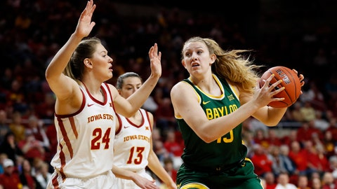 <p>               Baylor forward Lauren Cox, right, drives to the basket past Iowa State guard Ashley Joens (24) during the first half of an NCAA college basketball game, Sunday, March 8, 2020, in Ames, Iowa. (AP Photo/Charlie Neibergall)             </p>