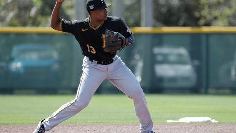 <p>               Pittsburgh Pirates' Ke'Bryan Hayes throws to second base during a spring training baseball workout Monday, Feb. 17, 2020, in Bradenton, Fla. (AP Photo/Frank Franklin II)             </p>