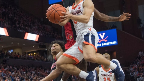 <p>               Virginia guard Kihei Clark drives to basket as Louisville's Darius Perry defends during the second half of an NCAA college basketball game in Charlottesville, Va., Saturday, March 7, 2020. (AP Photo/Lee Luther Jr.)             </p>