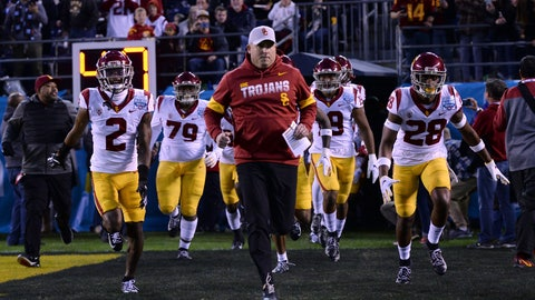 <p>               FILE - In this Friday, Dec. 27, 2019, file photo, Southern California head coach Clay Helton, center, leads his players onto the field before the Holiday Bowl NCAA college football game against Iowa, in San Diego. Helton is 40-22 in four full seasons as USC coach. (AP Photo/Orlando Ramirez, File)             </p>