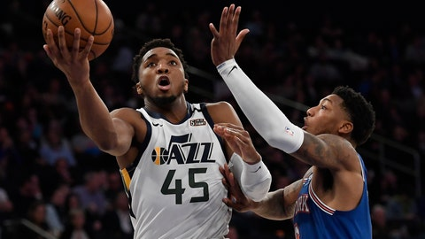 <p>               Utah Jazz guard Donovan Mitchell (45) shoots next to New York Knicks guard Elfrid Payton during the second half of an NBA basketball game in New York, Wednesday, March 4, 2020. (AP Photo/Sarah Stier)             </p>