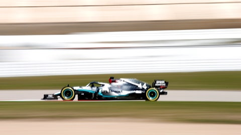 <p>               Mercedes driver Lewis Hamilton of Britain steers his car during the Formula One pre-season testing session at the Barcelona Catalunya racetrack in Montmelo, outside Barcelona, Spain, Friday, Feb. 28, 2020. (AP Photo/Joan Monfort)             </p>