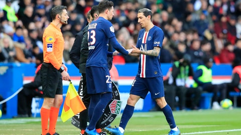 <p>               PSG's Angel Di Maria, right, walks off after being substituted by PSG's Julian Draxler during the French League One soccer match between Paris-Saint-Germain and Dijon, at the Parc des Princes stadium in Paris, France, Saturday, Feb. 29, 2020. (AP Photo/Michel Euler)             </p>