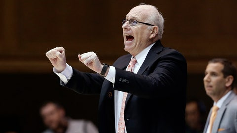 <p>               Miami head coach Jim Larranaga directs his players during the second half of an NCAA college basketball game against Duke in Durham, N.C., Tuesday, Jan. 21, 2020. (AP Photo/Gerry Broome)             </p>