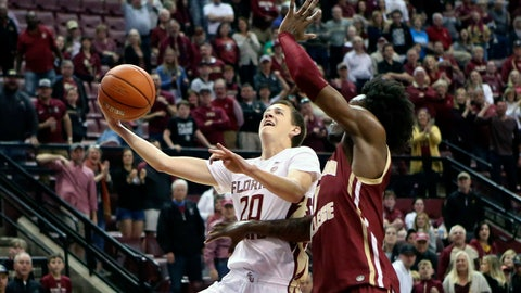 <p>               Florida State's Travis Light, left, drives around Boston College's CJ Felder as he attempts to score in the second half of an NCAA college basketball game Saturday, March 7 2020, in Tallahassee, Fla. Florida State won 80-62. (AP Photo/Steve Cannon)             </p>