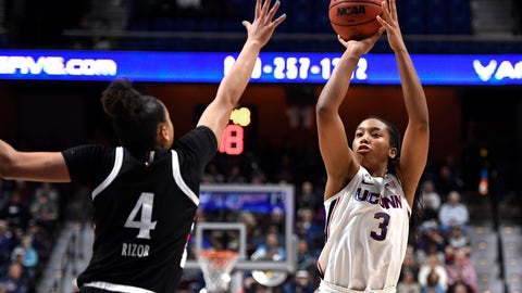 <p>               Connecticut's Megan Walker (3) shoots over Cincinnati's Angel Rizor (4) during the first half of an NCAA college basketball game in the American Athletic Conference tournament finals at Mohegan Sun Arena, Monday, March 9, 2020, in Uncasville, Conn. (AP Photo/Jessica Hill)             </p>