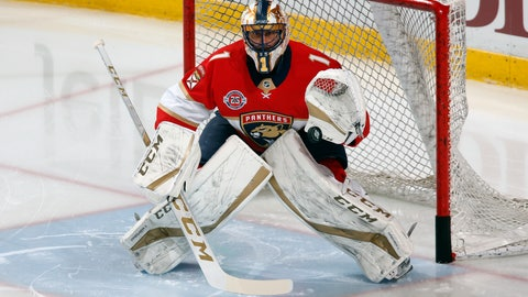 <p>               FILE - In this April 6, 2019, file photo, goaltender Roberto Luongo warms up prior to an NHL hockey game against the New Jersey Devils, in Sunrise, Fla. The Panthers are going to send Luongo's No. 1 jersey to the rafters and make him the first player in franchise history to receive that distinction during a ceremony before a game against Montreal, Luongo's hometown team, Saturday, March 7, 2020. (AP Photo/Joel Auerbach, File)             </p>