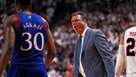 <p>               Kansas coach Bill Self yells at Ochai Agbaji (30) after he let the ball go out of bounds during the second half of an NCAA college basketball game against Texas Tech, Saturday, March 7, 2020, in Lubbock, Texas. (AP Photo/Brad Tollefson)             </p>