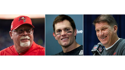 <p>               FILE - From left are file photos showing Bruce Arians, Tom Brady and Jason Licht. The Tampa Bay Buccaneers NFL football team will have a conference call to introduce the teams new quarterback Tom Brady, Tuesday, March 24, 2020. Tampa head coach Bruce Arians and general manager Jason Licht are expected to be on the call. (AP Photo/File)             </p>