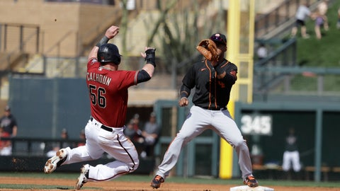 <p>               Arizona Diamondbacks' Kole Calhoun is tagged out at second as San Francisco Giants' Abiatal Avelino waits for the throw during the second inning of a spring training baseball game, Monday, March 2, 2020, in Scottsdale, Ariz.(AP Photo/Darron Cummings)             </p>