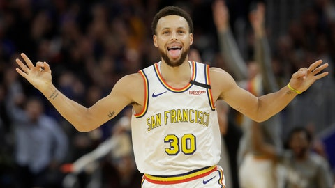 <p>               Golden State Warriors guard Stephen Curry (30) reacts after shooting a 3-point basket against the Toronto Raptors during the first half of an NBA basketball game in San Francisco, Thursday, March 5, 2020. (AP Photo/Jeff Chiu)             </p>