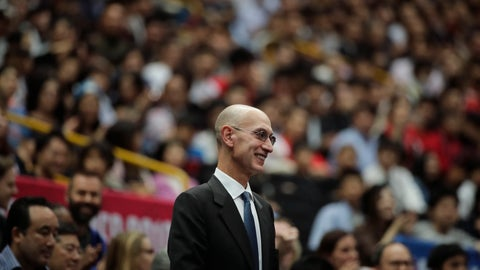 <p>               FILE - In this Oct. 8, 2019 file photo, NBA Commissioner Adam Silver is introduced during an NBA preseason basketball game between the Houston Rockets and the Toronto Raptors in Saitama, near Tokyo.  Silver said in an interview Saturday, March 21, 2020  that the league is considering all options, best-case, worst-case and countless ideas in between,  as it tries to come to grips with the coronavirus pandemic. (AP Photo/Jae C. Hong, File)             </p>