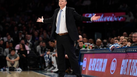 <p>               New York Knicks coach Mike Miller reacts during the second half of the team's NBA basketball game against the Utah Jazz in New York, Wednesday, March 4, 2020. The Jazz won 112-104. (AP Photo/Sarah Stier)             </p>