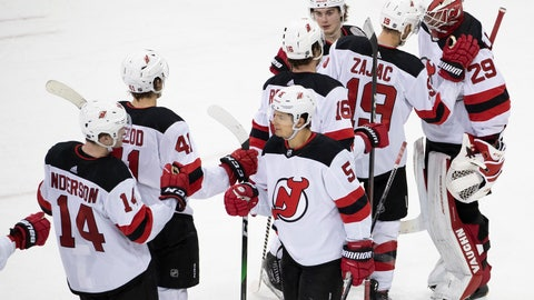 <p>               New Jersey Devils goaltender Mackenzie Blackwood (29) celebrates with teammates after their win an NHL hockey game against the New York Rangers, Saturday, March 7, 2020, at Madison Square Garden in New York. (AP Photo/Mary Altaffer)             </p>