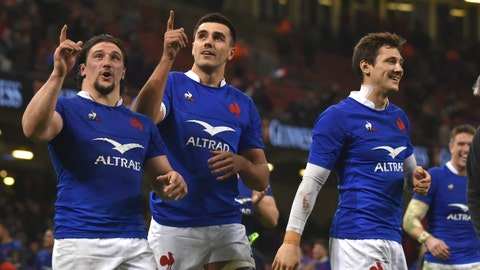 <p>               France players celebrate after the Six Nations rugby union international between Wales and France at the Principality Stadium in Cardiff, Wales, Saturday, Feb. 22, 2020. (AP Photo/Rui Vieira)             </p>