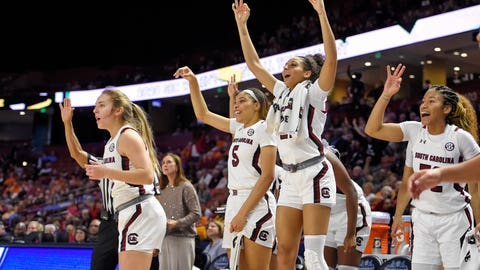 <p>               South Carolina players react during the second half of a quarterfinal match against Georgia at the Southeastern women's NCAA college basketball tournament in Greenville, S.C., Friday, March 6, 2020. (AP Photo/Richard Shiro)             </p>