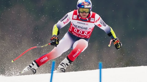 <p>               France's Alexis Pinturault competes during the super-G portion of an alpine ski, men's World Cup combined, in Hinterstoder, Austria, Sunday, March 1, 2020. (AP Photo/Giovanni Auletta)             </p>