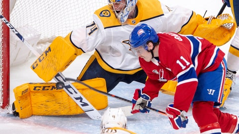 <p>               Nashville Predators goaltender Juuse Saros (74) makes a save on Montreal Canadiens right wing Brendan Gallagher (11) during the third period of an NHL hockey game Tuesday, March 10, 2020, in Montreal. (Ryan Remiorz/The Canadian Press via AP)             </p>