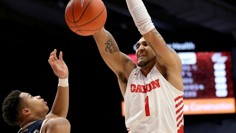 <p>               Dayton's Obi Toppin (1) dunks over George Washington's Jameer Nelson Jr (12) during the first half of an NCAA college basketball game Saturday, March 7, 2020, in Dayton, Ohio. (AP Photo/Tony Tribble)             </p>