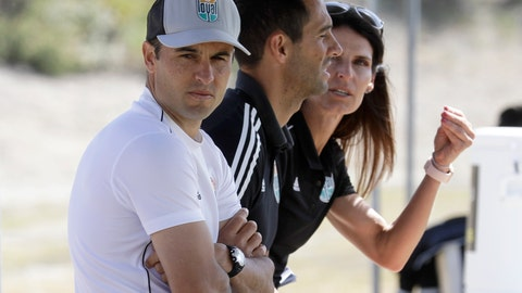 <p>               Landon Donovan, left, looks on alongside assistant coaches Nate Miller, center, and Carrie Taylor, right, during a scrimmage, Wednesday, March 4, 2020 in Chula Vista, Calif. Donovan, one of the greatest U.S. soccer players of all time, has revived his passion for the game as coach of the expansion San Diego Loyal of the professional second-division United Soccer League. (AP Photo/Gregory Bull)             </p>