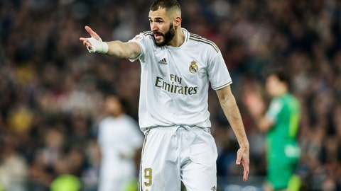 <p>               Real Madrid's Karim Benzema reacts during a Spanish Copa del Rey soccer match between Real Madrid and Real Sociedad at the Santiago Bernabeu stadium in Madrid, Spain, Thursday, Feb. 6, 2020. (AP Photo/Manu Fernandez)             </p>