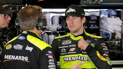 <p>               Ryan Blaney, right, talks with crew members in his garage during a practice session for the NASCAR Daytona 500 auto race at Daytona International Speedway, Saturday, Feb. 15, 2020, in Daytona Beach, Fla. (AP Photo/Terry Renna)             </p>