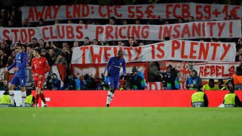 <p>               Fans hold banner during a first leg, round of 16, Champions League soccer match between Chelsea and Bayern Munich at Stamford Bridge stadium in London, England, Tuesday Feb. 25, 2020. (AP Photo/Kirsty Wigglesworth)             </p>