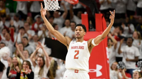 <p>               Maryland guard Aaron Wiggins (2) reacts after he made a three-point basket during the second half of an NCAA college basketball game against Michigan, Sunday, March 8, 2020, in College Park, Md. (AP Photo/Nick Wass)             </p>
