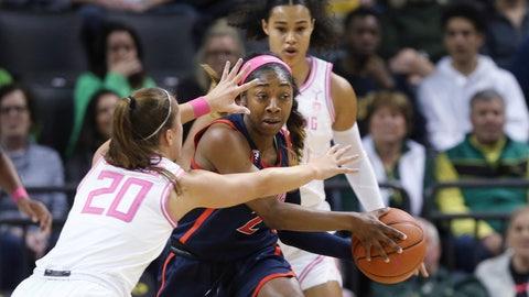 <p>               Arizona Oregon's Sabrina Ionescu, left, and Satou Sabally pressure Arizona's Aari McDonald during the second quarter of an NCAA college basketball game in Eugene, Ore., Friday, Feb. 7, 2020. (AP Photo/Chris Pietsch)             </p>