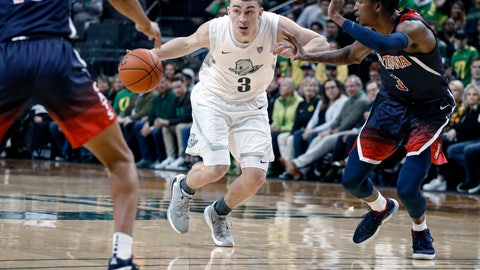<p>               FILE - In this Jan. 9, 2020, file photo, Oregon's Payton Pritchard drives between Arizona defenders during the first half of an NCAA college basketball game in Eugene, Ore. Pritchard was selected to the Associated Press All Pac-12 team selected Tuesday, March 10, 2020. Pritchard was also named AP Pac-12 Player of the Year. (AP Photo/Thomas Boyd, File)             </p>