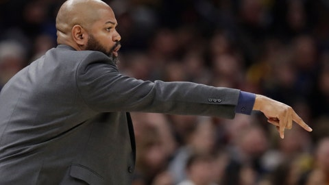 <p>               Cleveland Cavaliers head coach J.B. Bickerstaff gives instructions to players in the second half of an NBA basketball game against the Indiana Pacers, Saturday, Feb. 29, 2020, in Cleveland. Indiana won 113-104. (AP Photo/Tony Dejak)             </p>