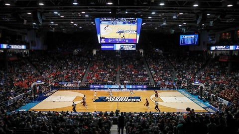 <p>               FILE - In this March 19, 2019, file photo, spectators watch from the stands during the first half of a First Four game of the NCAA college basketball tournament between Temple and Belmont, in Dayton, Ohio. NCAA President Mark Emmert says NCAA Division I basketball tournament games will be played without fans in the arenas because of concerns about the spread of coronavirus. (AP Photo/John Minchillo, File)             </p>