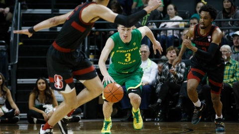 <p>               Oregon guard Payton Pritchard (3) brings the ball up during the first half of the team's NCAA college basketball game against Stanford in Eugene, Ore., Saturday, March 7, 2020. (AP Photo/Thomas Boyd)             </p>