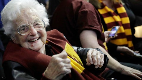 <p>               FILE - In this March 22, 2018 file photo, Sister Jean Dolores Schmidt sits with other Loyola-Chicago fans during the first half of a regional semifinal NCAA college basketball game against Nevada in Atlanta. Even to Sister Jean, the lovable nonagenarian nun who became a star during Loyola Chicago's stunning run to the Final Four two years ago, this is new territory. The COVID-19 pandemic has brought big chunks of the world to a near standstill. And at 100 years old, this is new territory for Sister Jean Dolores Schmidt. (AP Photo/David Goldman, File)             </p>