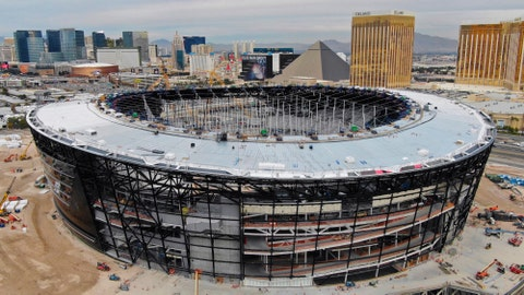 <p>               This Dec. 18, 2019 photo shows an aerial view of Allegiant Stadium ,the new NFL football stadium under construction in Las Vegas. A person familiar with the team's plans says the Oakland Raiders have declined an option to remain in Oakland for 2020 and are on target to move into the new stadium this summer. Construction on the stadium has been deemed an essential project and is going on without interruption despite most business being shut down in Nevada because of the new coronavirus. (Michael Quine/Las Vegas Review-Journal via AP)             </p>