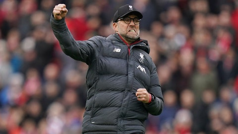 <p>               Liverpool's manager Jurgen Klopp celebrates at the end of the English Premier League soccer match between Liverpool and Bournemouth at Anfield stadium in Liverpool, England, Saturday, March 7, 2020. Liverpool won 2-1. (AP Photo/Jon Super)             </p>