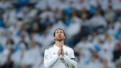 <p>               Real Madrid's Sergio Ramos reacts during the Spanish La Liga soccer match between Real Madrid and Barcelona at the Santiago Bernabeu stadium in Madrid, Spain, Sunday, March 1, 2020. (AP Photo/Manu Fernandez)             </p>