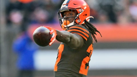 <p>               FILE - In this Dec. 22, 2019, file photo, Cleveland Browns running back Kareem Hunt reacts during an NFL football game against the Baltimore Ravens in Cleveland. The Browns opened a unique free agency period by placing a second-round tender on running back Kareem Hunt, who played eight games last season after returning from an NFL suspension. (AP Photo/David Richard, File)             </p>