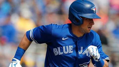 <p>               FILE - In this March 6, 2020, file photo, Toronto Blue Jays' Joe Panik runs during a spring training baseball game in Dunedin, Fla. Panik was added to the 40-man major league roster by the Blue Jays on Monday, March 16, 2020. (AP Photo/Carlos Osorio, File)             </p>