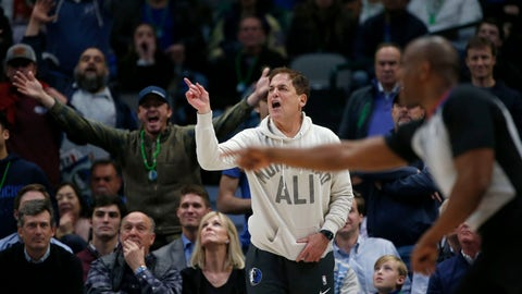 <p>               Dallas Mavericks owner Mark Cuban argues a call as they played the Utah Jazz during the second half an NBA basketball game in Dallas, Monday, Feb. 10, 2020. Utah defeated Dallas 123-119. (AP Photo/Michael Ainsworth)             </p>