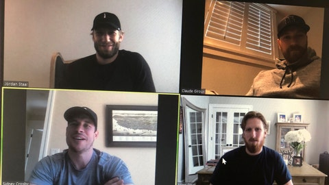<p>               NHL hockey players Jordan Staal, captain of the Carolina Hurricanes, clockwise from top left, Claude Giroux, captain of the Philadelphia Flyers, Marc Stall, alternate captain for the New York Rangers and Sidney Crosby, captain of the Pittsburgh Penguins, take part in an NHL video call with players representing the Metropolitan Division Thursday, March 26, 2020, in this photo made in Buffalo, N.Y. (AP Photo/John Wawrow)             </p>