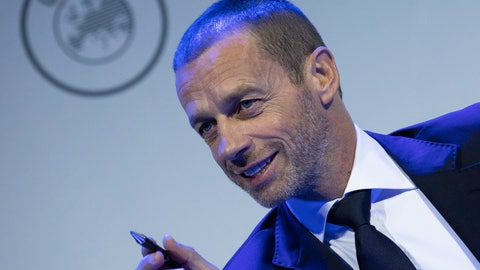 <p>               UEFA President Aleksander Ceferin looks up during a meeting of European soccer leaders at the congress of the UEFA governing body in Amsterdam's Beurs van Berlage, Netherlands, Tuesday, March 3, 2020. (AP Photo/Peter Dejong)             </p>