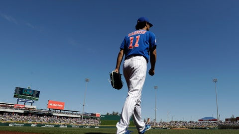 <p>               Chicago Cubs starting pitcher Yu Darvish takes the field to start a spring training baseball game against the Milwaukee Brewers, Saturday, Feb. 29, 2020, in Mesa, Ariz. (AP Photo/Gregory Bull)             </p>