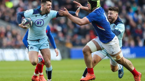 <p>               Scotland's Adam Hastings, left, runs with the ball next to France's Gregory Alldritt during the Six Nations rugby union international match between Scotland and France at the Murrayfield stadium in Edinburgh, Scotland, Sunday, March 8, 2020. (AP Photo/Scott Heppell)             </p>