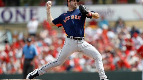 <p>               Houston Astros pitcher Justin Verlander throws a pitch during the first inning of a spring training baseball game against the St. Louis Cardinals, Tuesday, March 3, 2020, in Jupiter, Fla. (AP Photo/Julio Cortez)             </p>