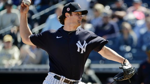 <p>               New York Yankees' Gerrit Cole delivers a pitch during the first inning of a spring training baseball game against the Detroit Tigers, Saturday, Feb. 29, 2020, in Tampa, Fla. (AP Photo/Frank Franklin II)             </p>