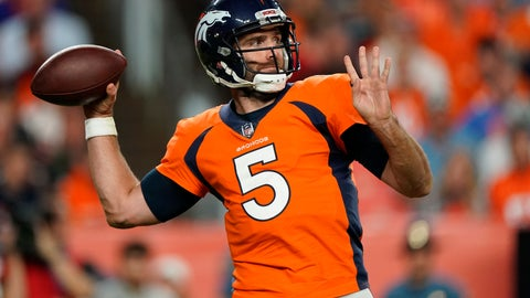 <p>               FILE - In this Oct. 17, 2019, file photo, Denver Broncos quarterback Joe Flacco (5) throws against the Kansas City Chiefs during the first half of an NFL football game in Denver.  A person with knowledge of the move tells The Associated Press that the Denver Broncos are waiving Joe Flacco with a failed physical designation, putting another veteran NFL quarterback on the open market. The person spoke on condition of anonymity because the team didn't announce the decision. (AP Photo/Jack Dempsey, File)             </p>